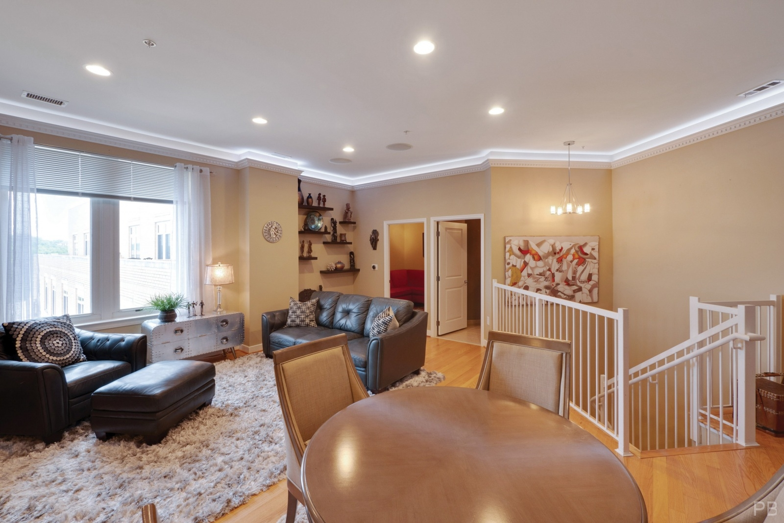 Living room with recessed lights and mood lighting