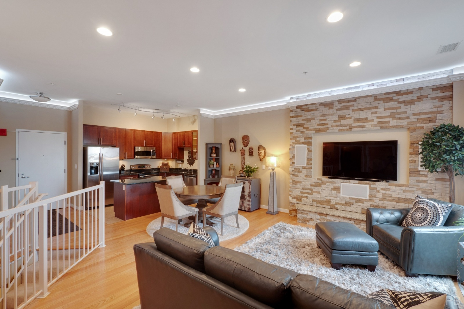 Decorative stone wall in the living room