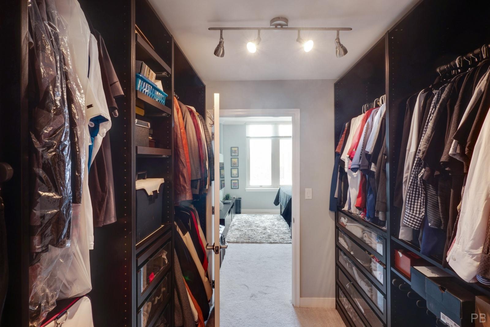 Walk-through closet in the Master bedroom