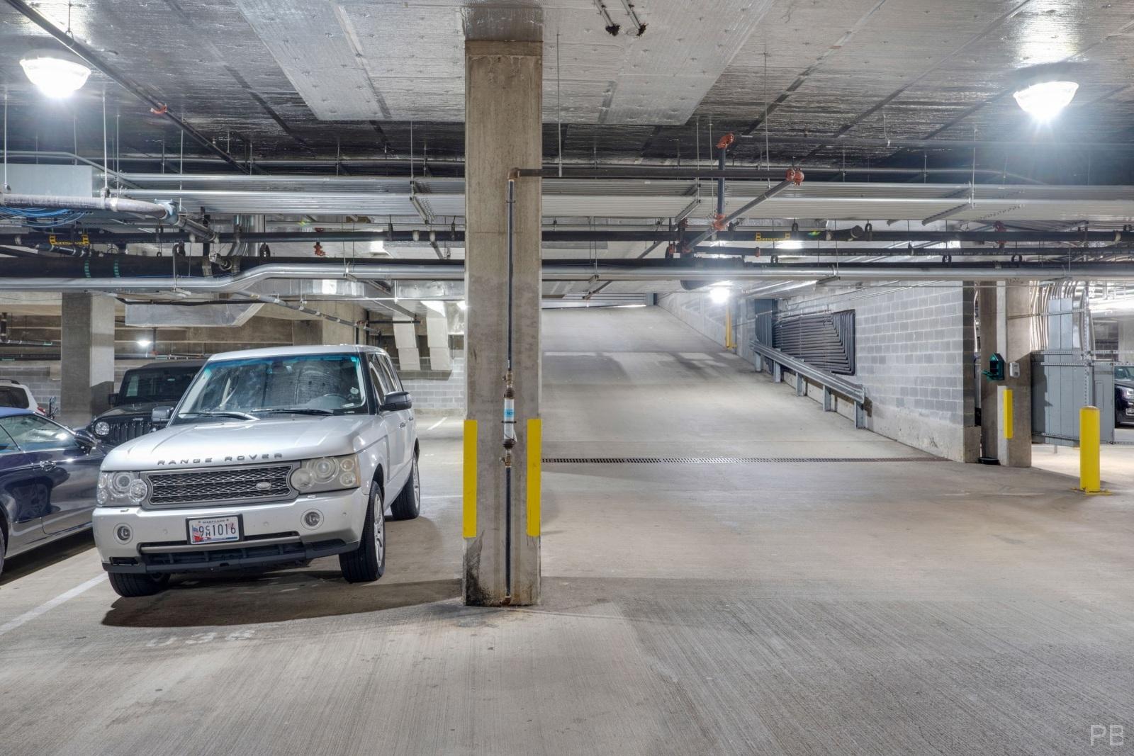 Garage parking space #38 next to the garage entrance